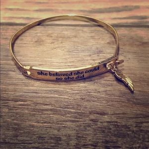 Gold Tone She Believed She Could Bracelet